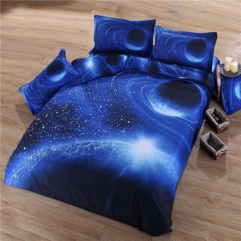 iDouillet 3D Nebala Outer Space Star Galaxy Bedding Set 2/3/4 pcs Duvet Cover Flat Sheet Pillowcase Queen Twin Size 29