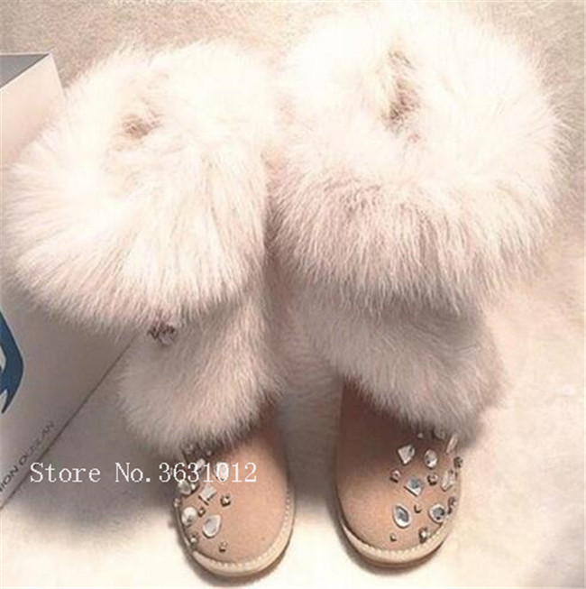 Luxry Designers Hot Fashion Winter Australia Fox Fur Snow Boots Mujer Rhinestone Stud Warm Snow Botas Women Flats Shoes With Fur