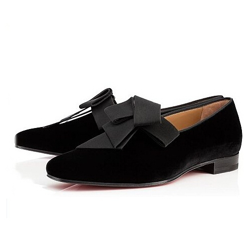 ФОТО Real Cheap Black Flat Men Casal Shoes Dandelion Bowtie Men Loafers Suede Leather Slip On Zapatos Mujer Shoes