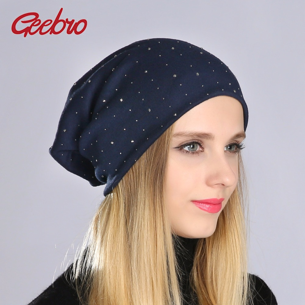 Geebro Women's Rhinestones   Beanie   Hats Casual Cotton Slouchy   Beanies   For Women Ladies   Skullies     Beanies   Knit Hat Gorras Cap JS254