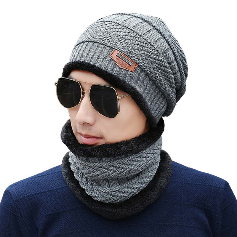 AZUE Mens Fleece Lined 2 Pieces Beanie Hat Scarf Set Winter Thick Warm Solid Skull Caps Scarfs For Men