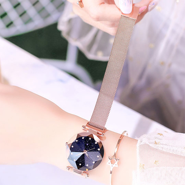 Maille d'acier inoxydable d'aimant de montre de dames de luxe avec la mode étoilée 4