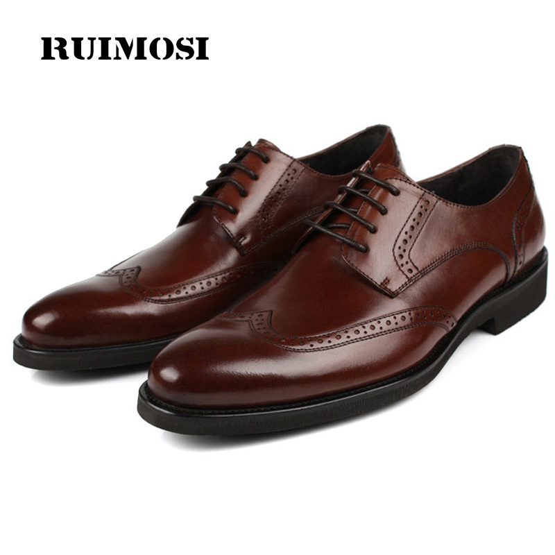 RUIMOSI British Style Man Formal Dress Shoes Vintage Genuine Leather Brogue Oxfords Round Toe Platform Men's Wing Tip Flats SF48