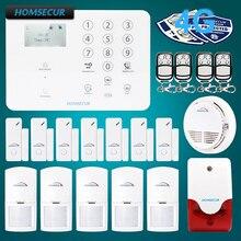 HOMSECUR Wireless&wired 4G LCD Burglar Intruder Alarm System with Smoke Detector GA01-4G-W