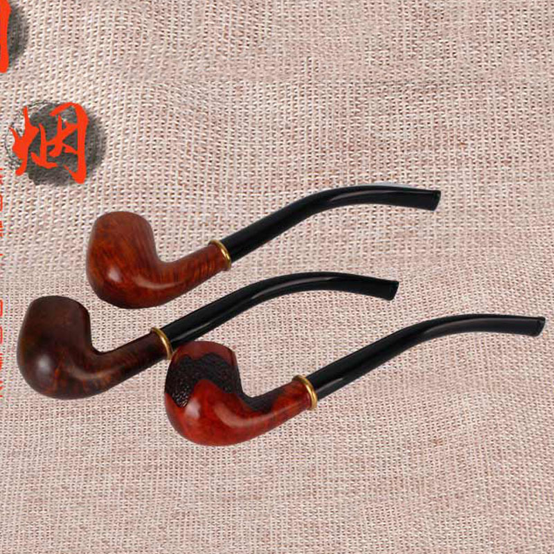 Retro Long Rod Curved Plus Stone Wood Detachable Smoking Pipe Engraving Classic Wood Crafts Smoking pipe