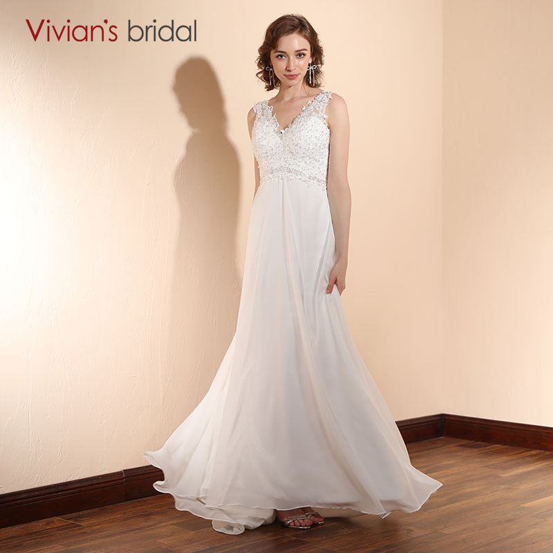 Vivian 39 s bridal boho beach wedding dress 2018 plus size for Beach chiffon wedding dress