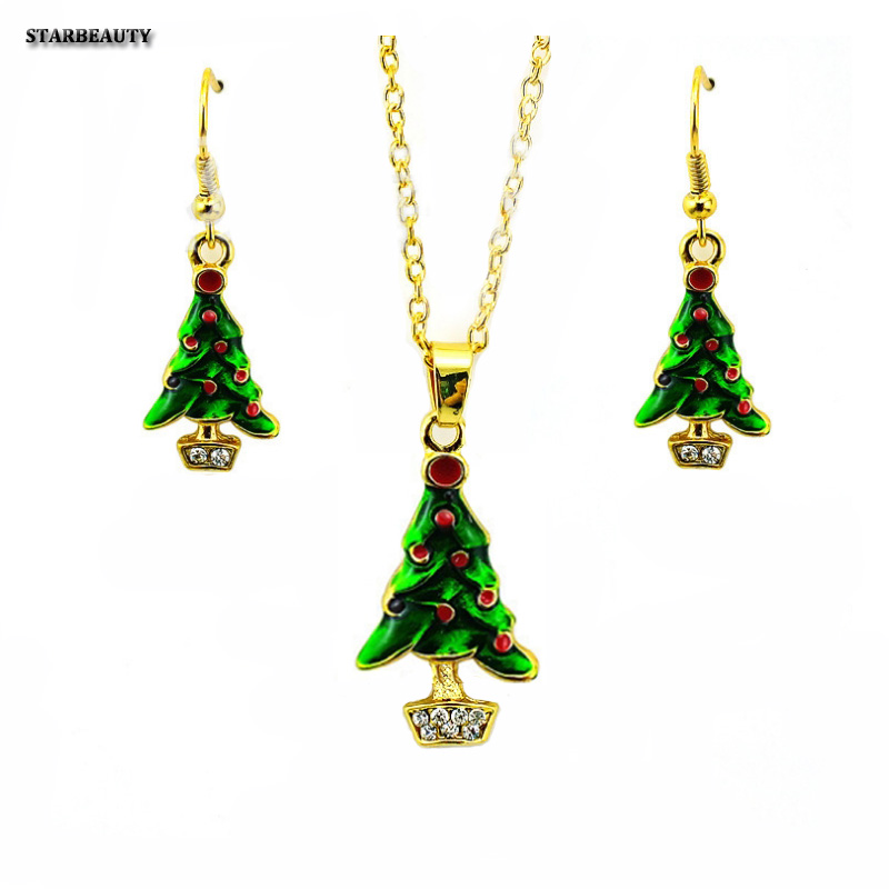 2017 Merry Christmas Tree Decoration Earrings and Necklace Jewelry, Christmas Socks Neck ...