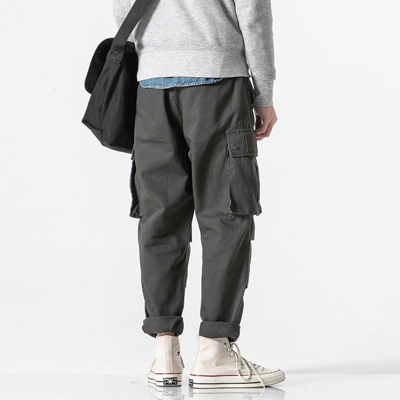 Pantalon Jeunes Type Américain Couture Lâche Cargo Poches Dimensions Trois De Hommes kaki Ardoisé Décoration En Popularité nw7w8Yqf