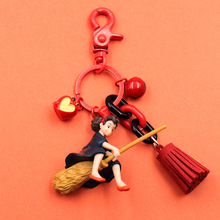 Hayao Miyazaki Cute Anime Kiki's Delivery Service Keychain Girl Kiki Figure Model PVC Doll Keyrings For Women Bag Pendant недорого