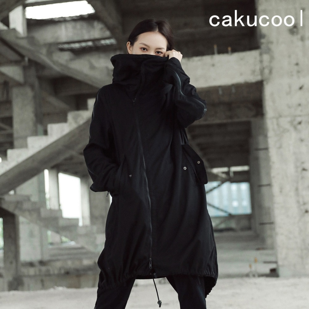 Cakucool Новый женский, черный длинный плащ пальто на молнии Высокий воротник Железная проволока с капюшоном ласточкин хвост ветровка свободны...