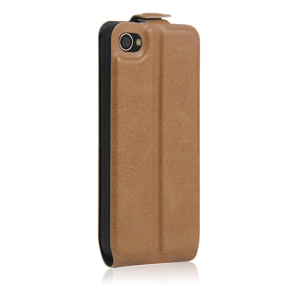 Leather case voor iPhone 4 4 s Magnetische adsorptie up-down flip case voor Apple iPhone 4 s Beschermende case Clamshell Holster