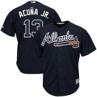 MLB Men S Atlanta Braves Ronald Acuna Jr Majestic Navy Alternate Official Cool Base Player Jersey