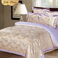 SILK PLACE Cotton Bedding Sets Queen King Size Bed Linen Jacquard Duvet Cover Comfortable Pillowcase Flat Sheet For Home Wedding