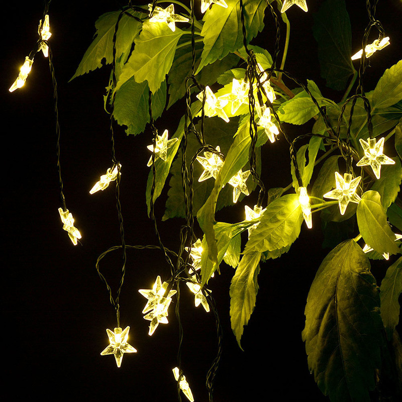 4.8M 16ft Led String Lights 20 Five Pointed Star LED Solar Lights Outdoor  Garden