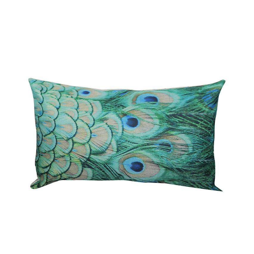 Vintage Retro Peacock Feather Pillow Case Linen Pillowcase