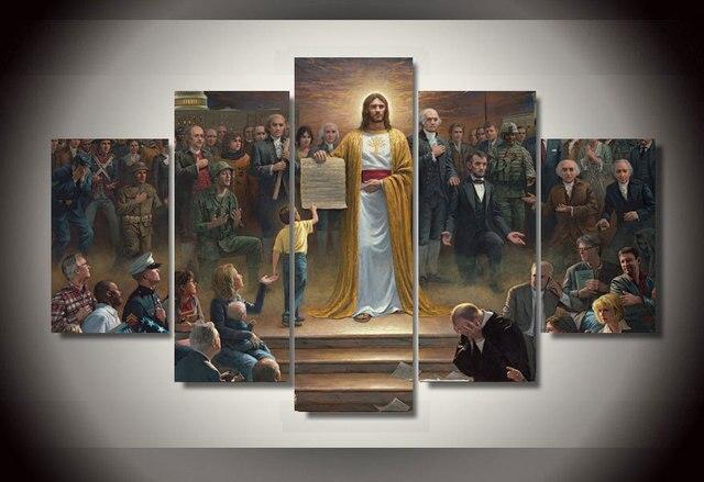 Hd gedrukt klassieke schilderijen jezus returns om aarde groep