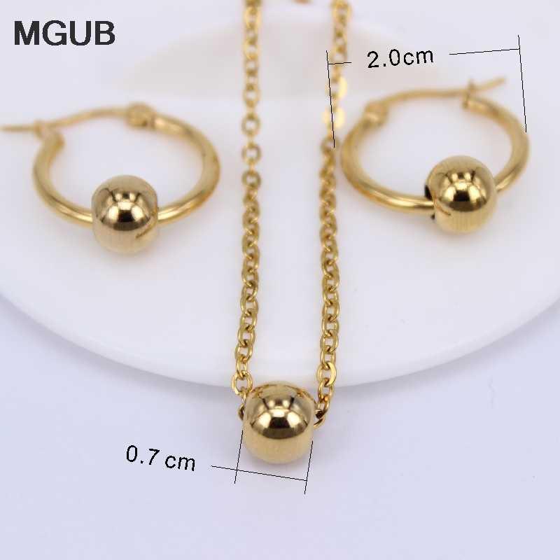 MGUB หลายขนาดทอง/เงินสแตนเลสแฟชั่นโลหะลูกปัดเครื่องประดับชุดสร้อยคอและต่างหูผู้หญิงโซ่ LH578