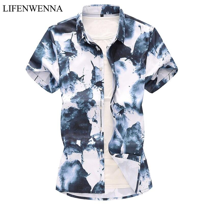 2019 Hawaii Shirts männer Casual Kurzarm Gedruckt Hause Hemd