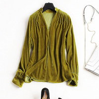 New Arrival 2018 Spring Autumn Fashion Women Sexy V Neck Velvet Blouse Ruched Long Sleeve Vintage