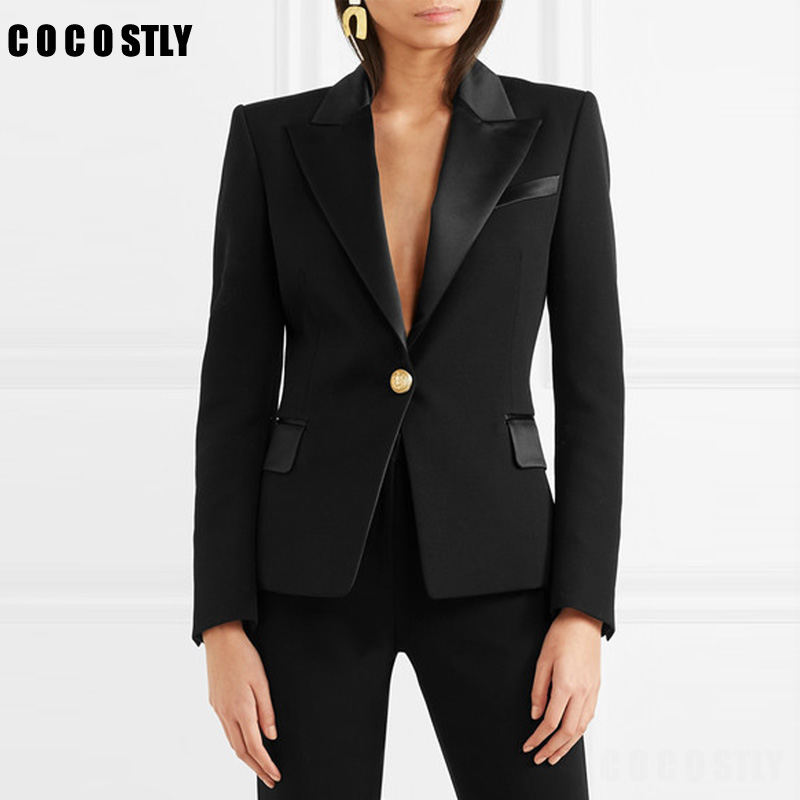 Autumn Suit For Women Slim Blazer Coat Casual Elegant Jacket Full Sleeve One Button Office Lady Black Blazer Feminino