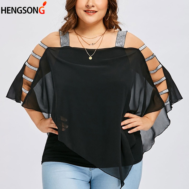 Summer Strap Chiffon Blouse Sexy Hollow Out Bandage Tops Off Shoulder Stitching Female Blouse Plus Size blusas mujer de moda