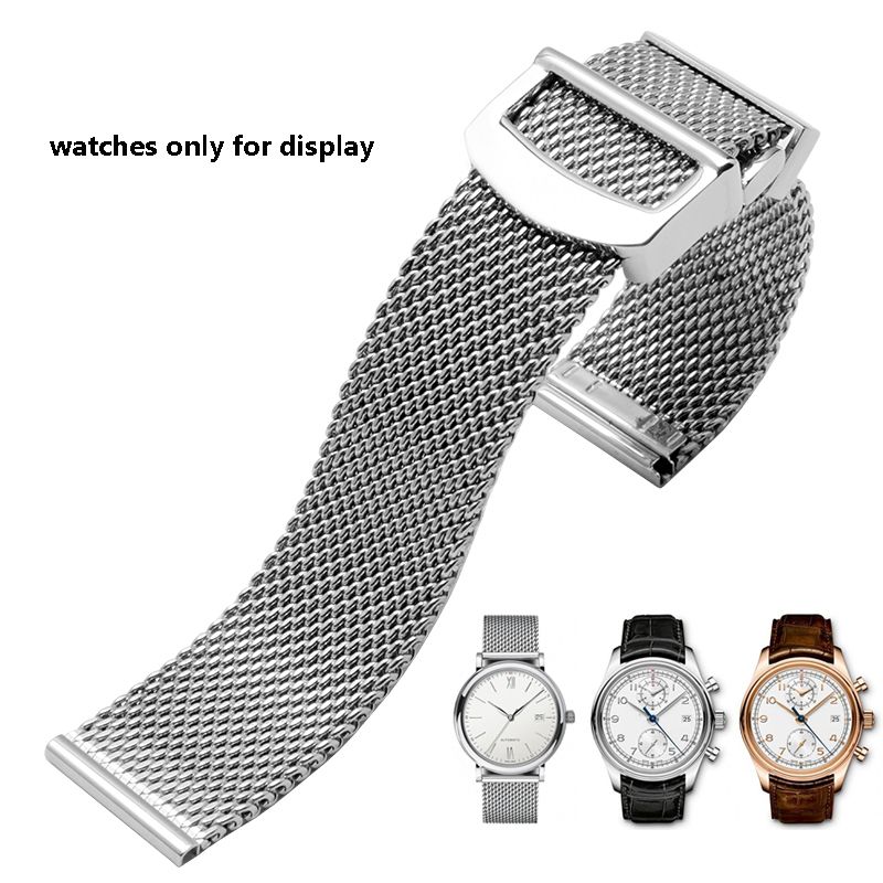 Milanese mesh belt 20mm 22mm Quality stainless steel watchband replacement bracelet fit IWC PORTUGIESER series