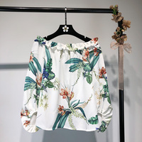 Bohemian Cute Women S Blouse 2018 Printed Flowers Shirts Off Shoulder Puff Long Sleeve Blouses Sexy