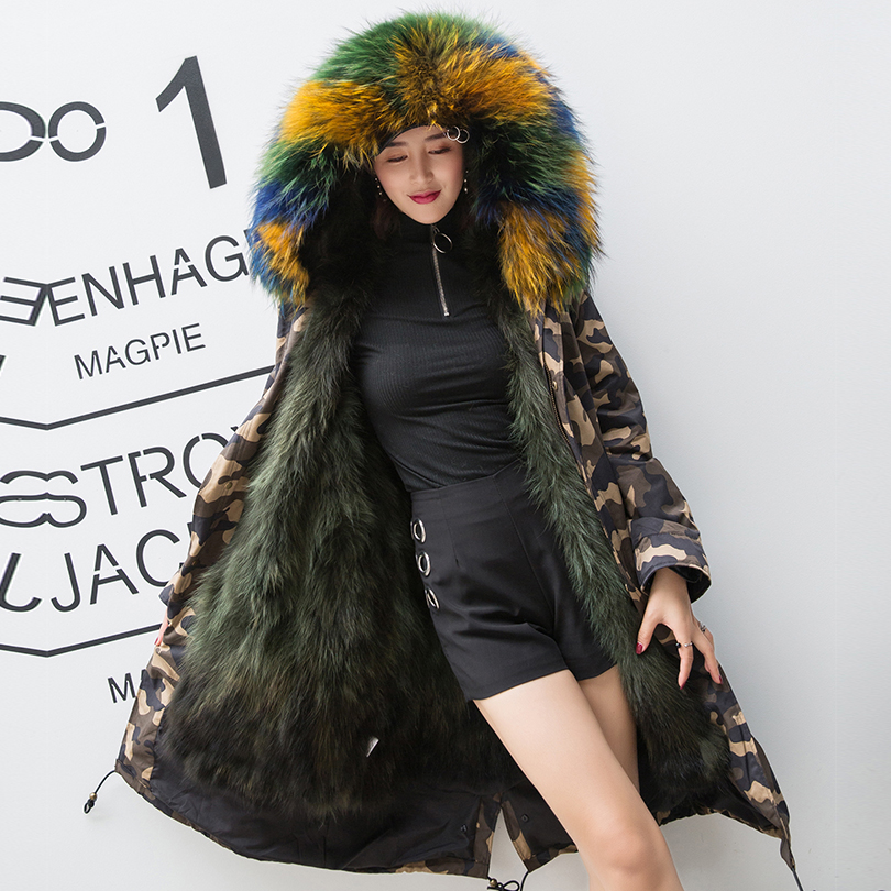Camouflage réel fourrure de renard doublure Parkas femmes manteaux d'hiver vert naturel fourrure parka femme vraie fourrure de raton laveur à capuche veste