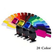 20 adet evrensel flaş Speedlite renk jel filtre kiti aydınlatma difüzör Godox Yongnuo Canon Nikon Pentax kamera DSLR