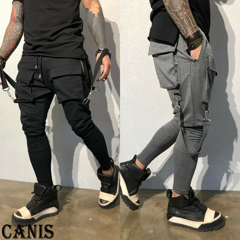 Men Gym Cargo Combat Tapered Multi Pocket Trousers Tracksuit Bottoms Skinny Joggers Sweat Track Pants New
