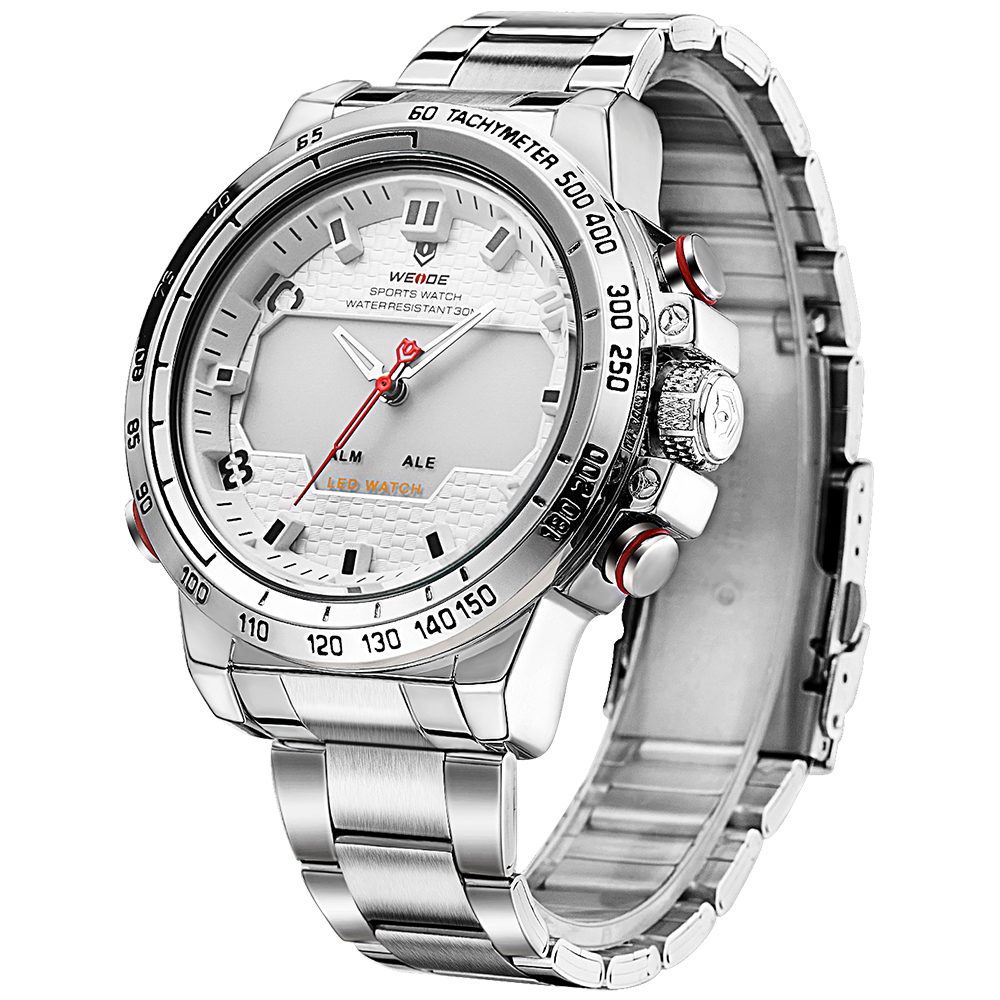 ФОТО WEIDE Military Army Watch Multifunctional Quartz LCD Digital leather Movement Waterproofed Watch Men Wristwatches Luxury Brand