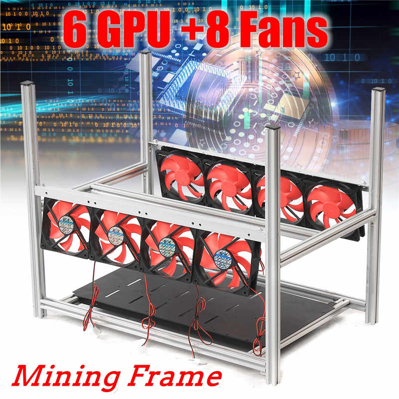 6GPU Aluminum Stackable Box With 8 Fans Mining Platform Case Outdoor Open Air Frame ETH / ZEC / Bitcoin