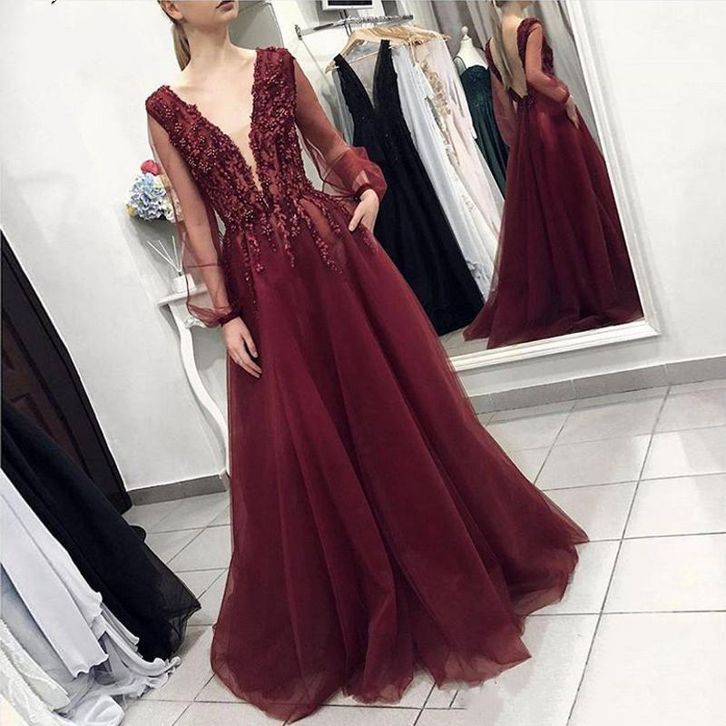 Burgundy V-Neck Long Sleeves Tulle Beading Formal Dresses Evening Gowns Prom