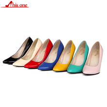 Sexy Lady Women Shoes Pointed Toe Pumps Patent Leather Dress High Heels Boat Shoes Wedding Shoes Zapatos Mujer Beige Blue Red 2016new fashion sole red bottom high heels sexy women shoes pointed toe black red nude pumps wedding party ladies zapatos mujer