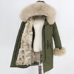 Image 3 - OFTBUY Parka larga impermeable para mujer, abrigo de piel auténtica, chaqueta de invierno, capucha de piel de mapache, forro de piel de zorro cálido y desmontable