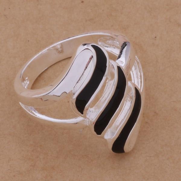 925 Sterling Silver Ring Fashion Jewerly Ring Women&Men Black feathers /dxhamooa fndaoeka AR176