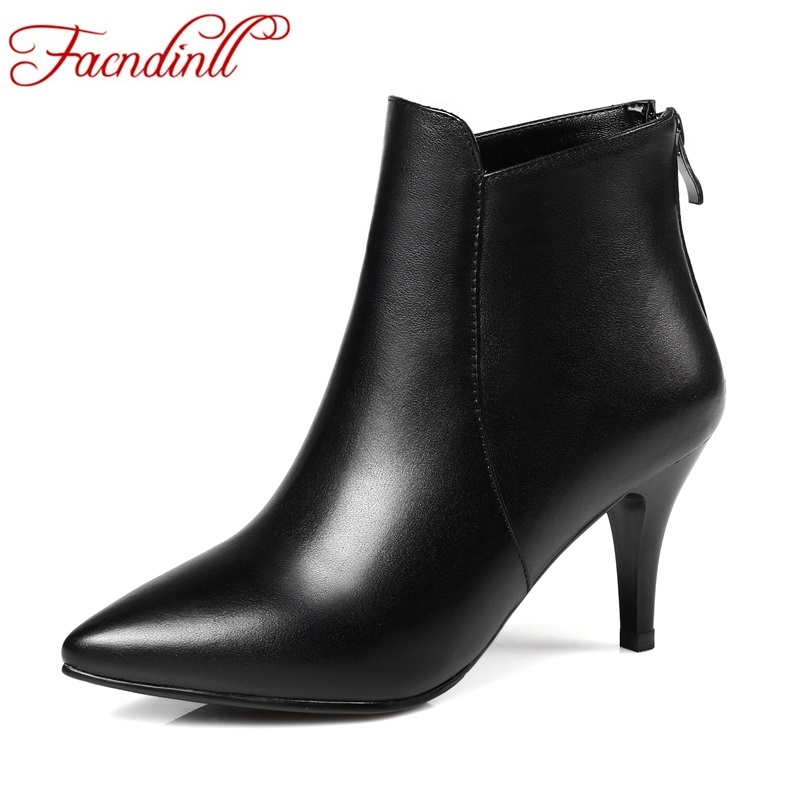 цены FACNDINLL new fashion genuine leather shoes woman ankle boots sexy high heels pointed toe women dress party casual riding boots