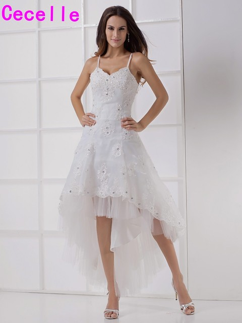 84e34275ac New Arrival High Low Short Wedding Dresses With Spaghetti Straps Appliques  Beaded Little White Bridal Gowns