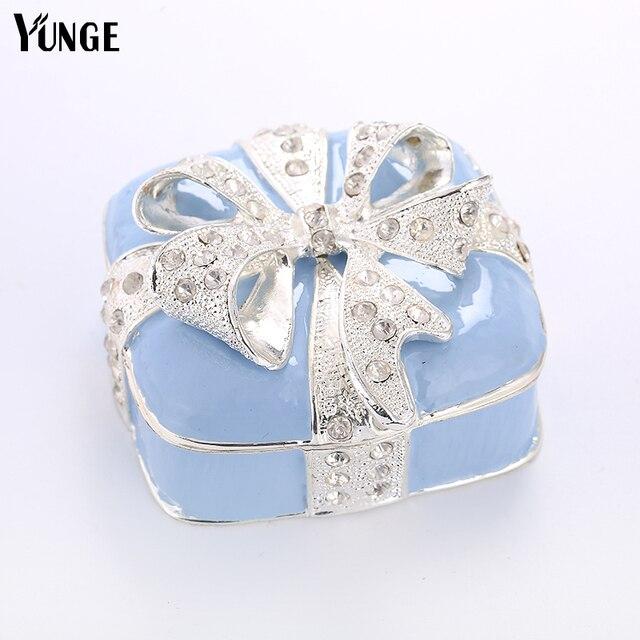 Cute Silver Bowknot Decoration Crystal Trinket Box Wedding Gift