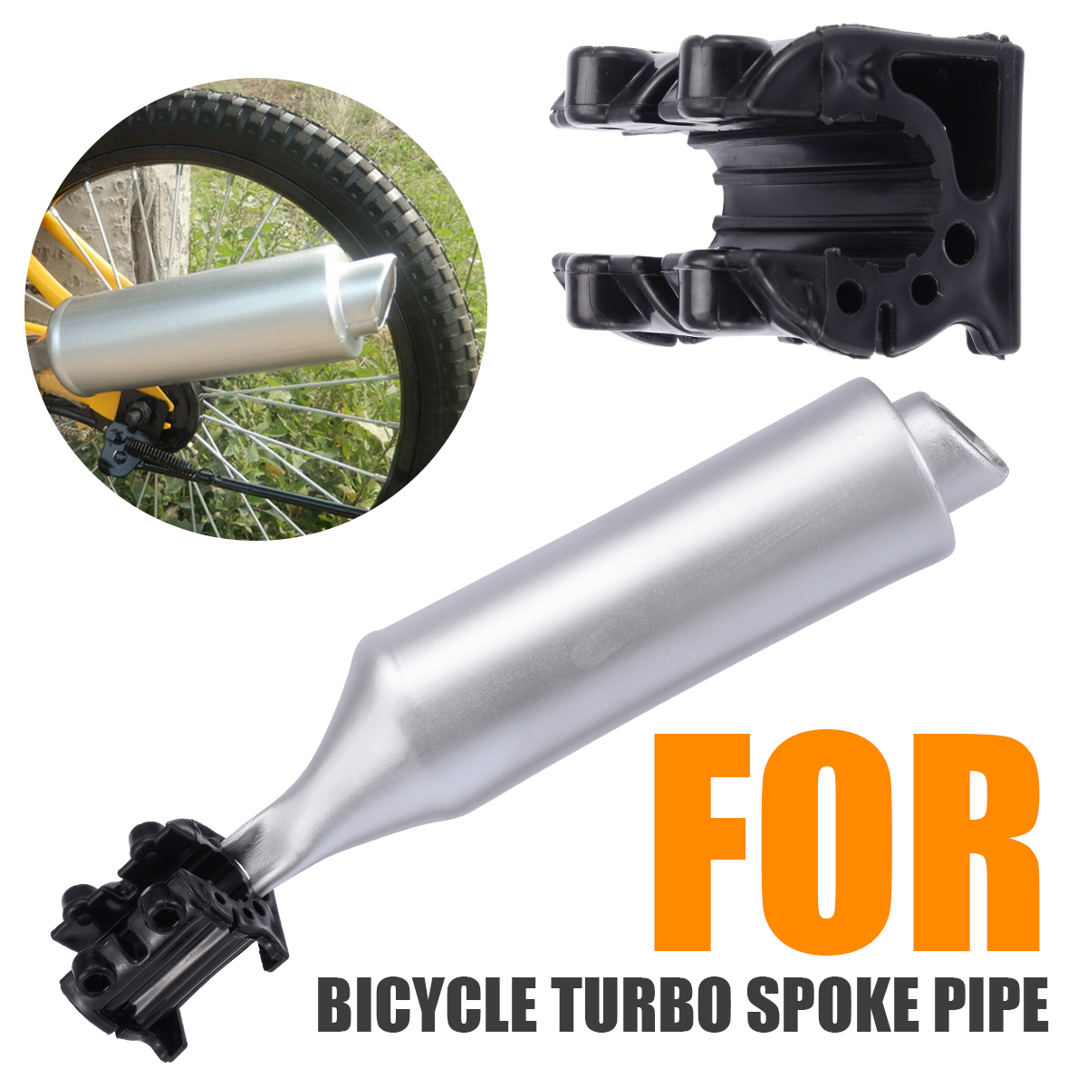 Silver Bicycle Pipe Exhaust System Motorcycle Sounds Noise Part Bike Spoke Sound Maker Bike Engine Bicycle Repair Tool