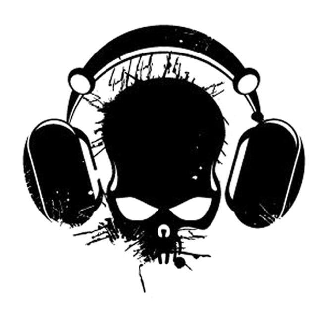 17 6cm16 8cm Interesting Audio Skull Headphones Cord Silhouette