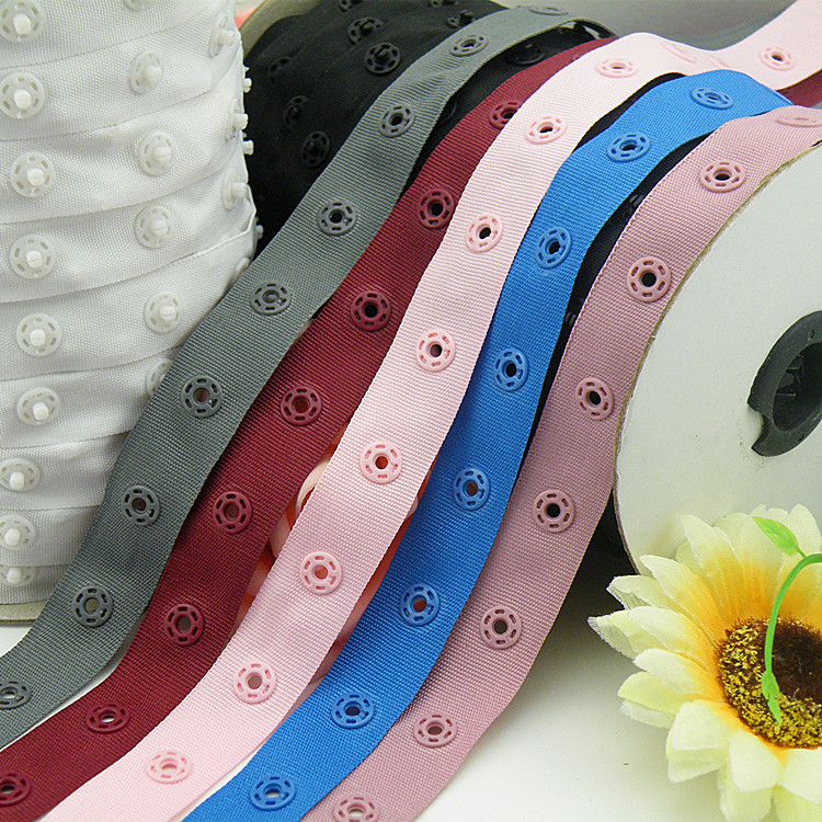 Arts,crafts & Sewing 5m/lot Width 18mm,snap Dia.8mm Plastic Snap Button Ribbon Tape Trim For Garment Bag Sewing Accessories Scrapbooking Diy Cheap Sales 50%