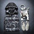Nuevo otoño/invierno 2016 edredón de algodón de ocio chaleco de camuflaje masculino chaleco con capucha engrosamiento