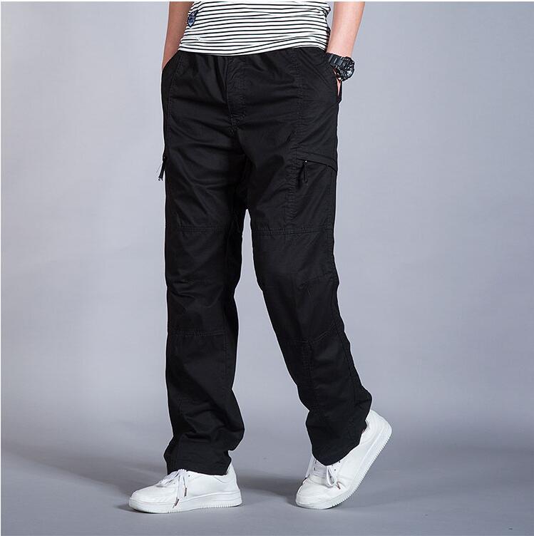 HTB1stwga56guuRjy1Xdq6yAwpXay Big Size Casual Men Joggers Pants 2018 summer Loose Wide Cargo Pants Cotton Jumpsuit Elastic Waist Harem tactica Trousers M-6XL