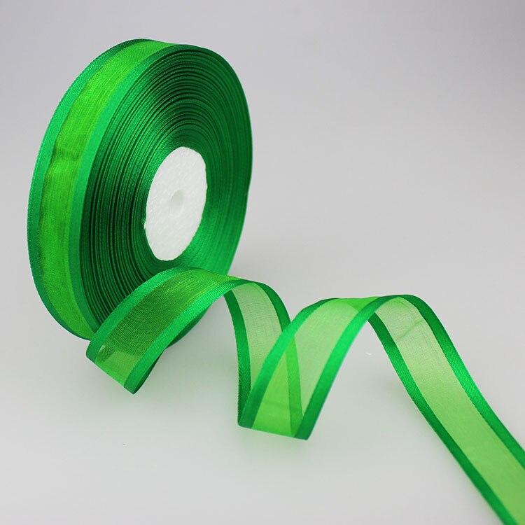 50 ярдов/партия 3/4 »(20 мм) зеленый атлас и органза Широкоформатные ленты оптовая продажа подарочная упаковка украшения ленты Оптовая продажа Новый