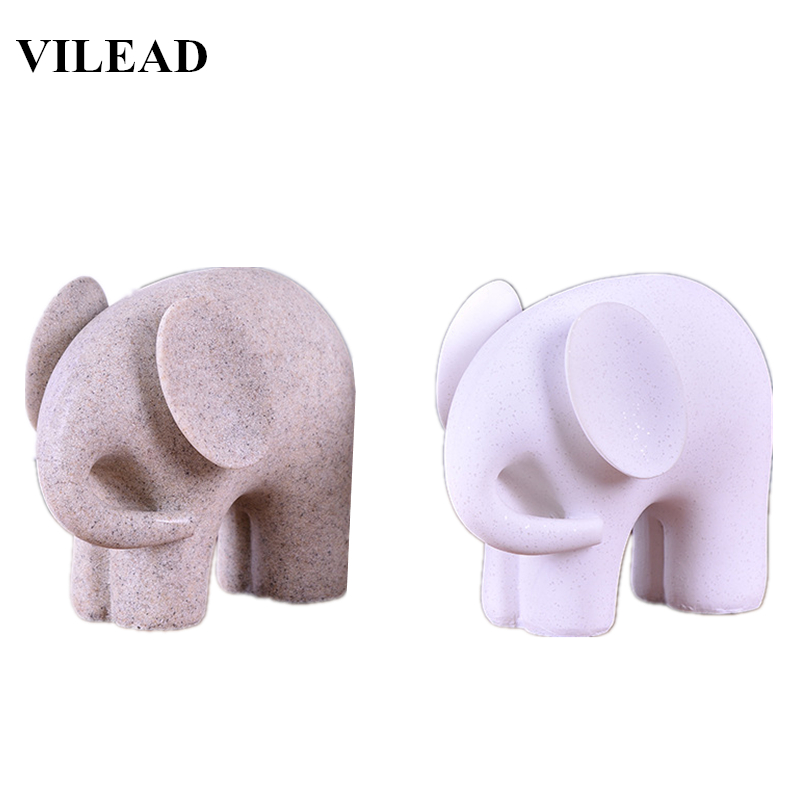 VILEAD Nature Sandstone White Elephant Figurines Miniatures Animal Statuettes Creative Gifts Vintage Home Office Decor