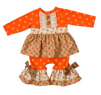 Halloween Heiße Verkäufe Babyspielanzug Langarm Neugeborene Kleidung Orange Polka Dot Kleinkind Mädchen Rüschen Band Bogen Strampler R016