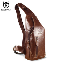 BULLCAPTAIN 2017 New Fashion Genuine Leather Men Bag Brand Design Cowhide Chest Pack Vintage Casual Shoulder Crossbody Bags