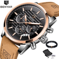 BENYAR Brand 2018 New Luxury Watch Quartz Men Brown Leather Band Waterproof Gold Military Wristwatch Mens relogio masculino