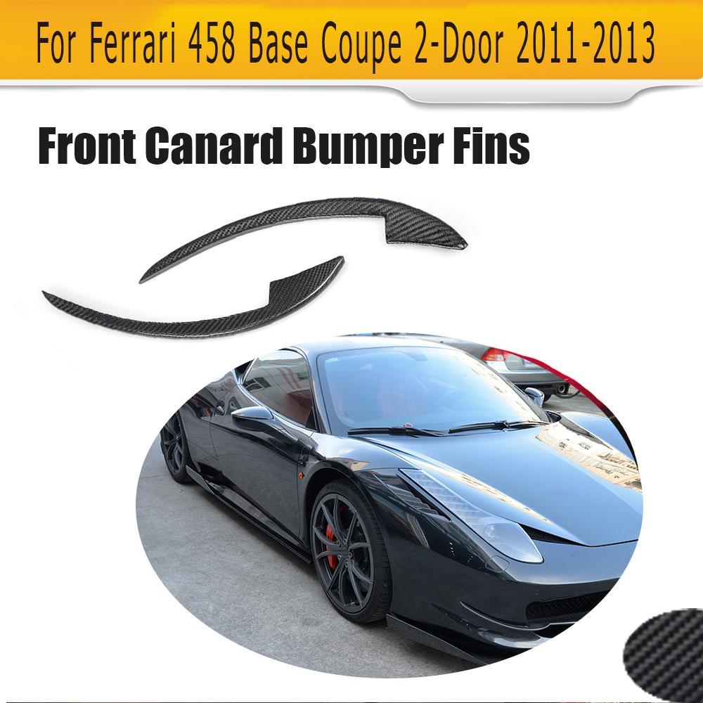 Carbon Fiber Front Bumper Splitter Spoiler Flip Fins Case for Ferrari 458 Base Coupe 2 Door 2011-2013 Car Tuning Parts 2PCS